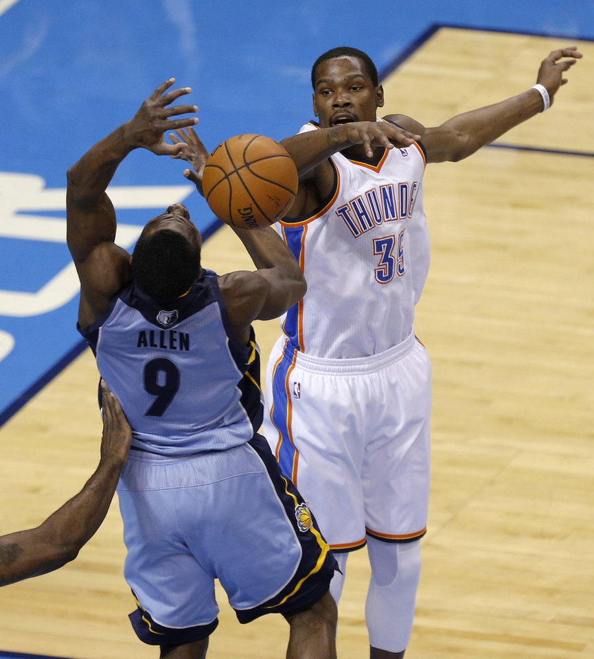 Photo - Oklahoma City's Kevin Durant (35) defends Memphis' Tony Allen (9) during Game 7 in the first round of the NBA playoffs between the Oklahoma City Thunder and the Memphis Grizzlies at Chesapeake Energy Arena in Oklahoma City, Saturday, May 3, 2014. Photo by Sarah Phipps, The Oklahoman