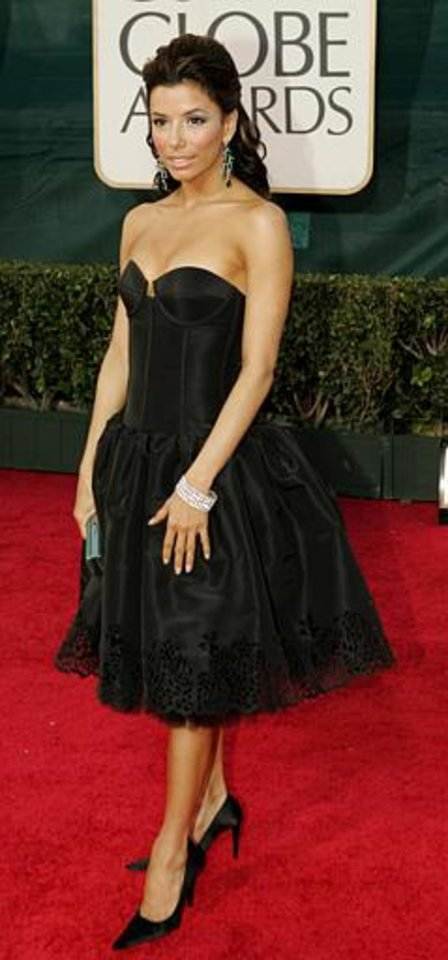 "Eva Longoria, of ""Desperate Housewives,"" arrives for the 62nd Annual Golden Globe Awards on Sunday, Jan. 16, 2005, in Beverly Hills, Calif. (AP Photo/Mark J. Terrill)"