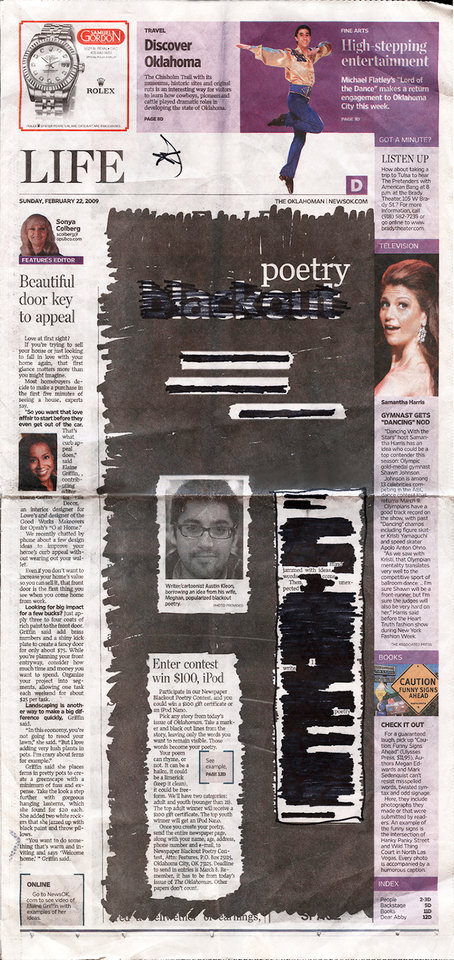 Photo - BLACKOUT POETRY CONTEST / POEM / WINNER / YOUTH CATEGORY: