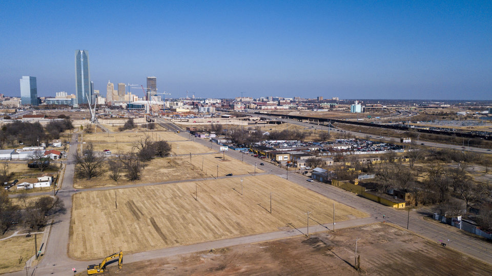 Photo -  The proposed future Oklahoma Humane Society campus, if built, will be located at SW 10 and Harvey Avenue just south and west of the Skydance bridge and will front the south and west frontage of the lower Scissortail Park (the freshly sodded area shown in this photo). [Photo by Dave Morris, The Oklahoman]