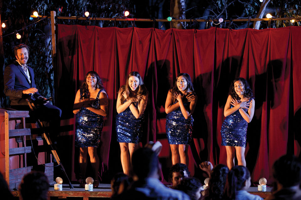 This film publicity image released by The Weinstein Company shows, from left, Chris Dowd as Dave, Deborah Mailman as Gail, Shari Sebbens as Kay, Jessica Mauboy as Julie, and Miranda Tapsell as Cynthia in a scene from