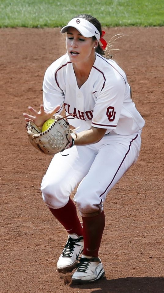 Sooner shortstop Jessica Vest catches a pop up by Arkansas's Megan Pearson at the Norman Regional of the 2013 NCAA Division I Softball Women's College World Series as the University of Oklahoma (OU) Sooners play the Arkansas Razorbacks at Marita Hines Field on Saturday, May 18, 2013  in Norman, Okla. Photo by Steve Sisney, The Oklahoman