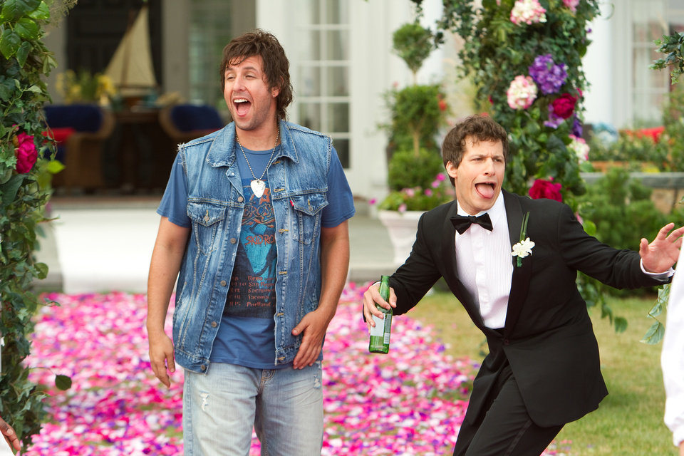 Photo - FILE - This film image provided by Columbia Pictures shows Adam Sandler, left, and Andy Samberg in a scene from