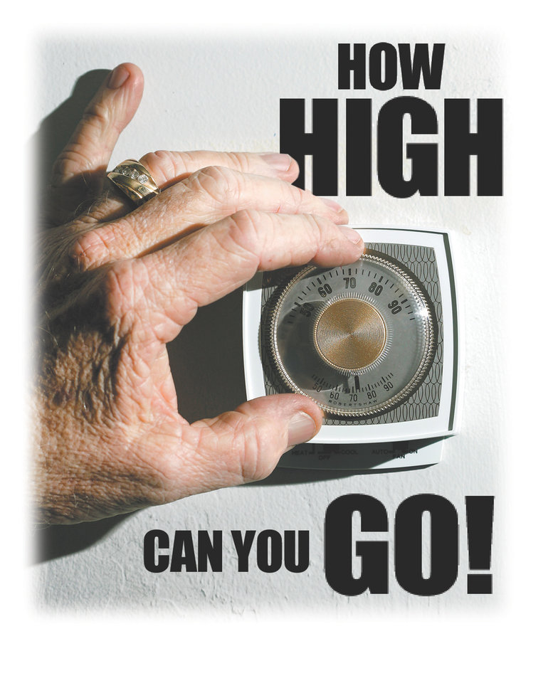 Photo - HOW HIGH CAN YOU GO! GRAPHIC/ILLUSTRATION with photo: A home thermostat at Comfort guard in OKlahoma City, December 7, 2005.  By Bryan Terry/The Oklahoman