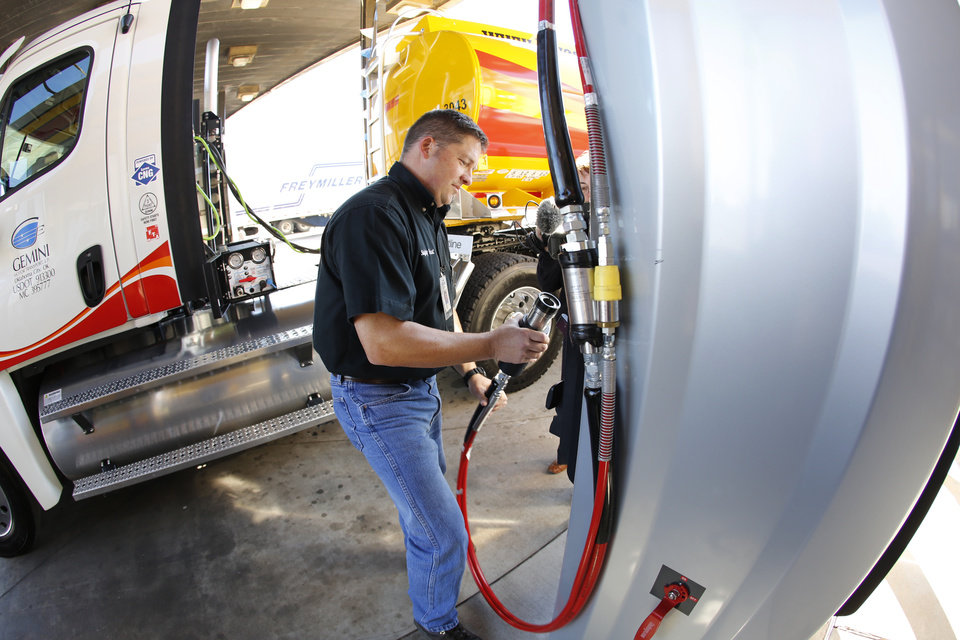 "Gemini Motor Transport driver Robert Felts demonstrates how to fill his truck with compressed natural gas during the opening of Love's Travel Stops first ""fast fill"" CNG facility for heavy-duty trucks at I-40 and Morgan Road in Oklahoma City, Monday  October 8, 2012. Photo By Steve Gooch, The Oklahoman"