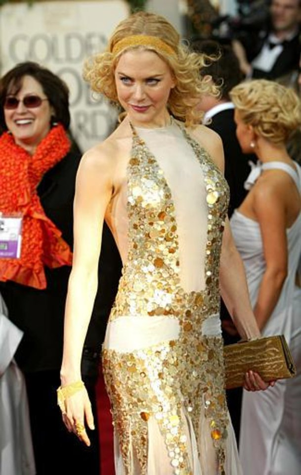 Australian actress Nicole Kidman, nominated for best actress in a drama for her work in Cold Mountain, arrives for the 61st Annual Golden Globe Awards on Sunday, Jan. 25, 2004, in Beverly Hills, Calif. (AP Photo/Kevork Djansezian)