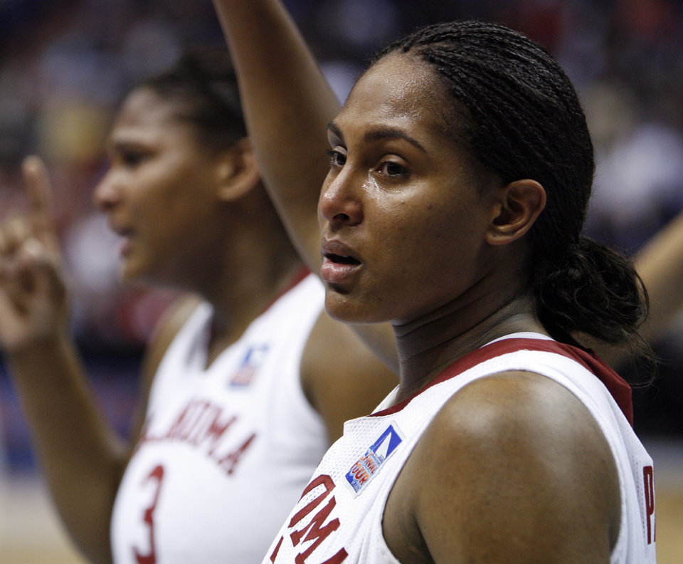 Photo - Sooner Ashley Paris leaves the floor as University of Oklahoma is defeated by Louisville 61-59 at the 2009 NCAA women's basketball tournament Final Four in the Scottrade Center in Saint Louis, Missouri on Sunday, April 5, 2009. 