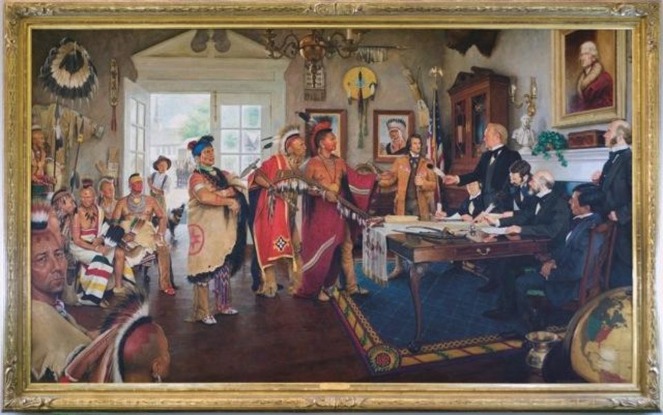 Photo - This painting shows the signing of the federal government's treaty with the Osage in 1825 that moved the tribe to Kansas to make room for the Cherokees and Creeks in what would become northeast Oklahoma. Former Sen. Charles Ford was the model for Indian Commissioner William Clark, who is offering the quill pen to Osage Principal Chief Clairmont at the signing in St. Louis. Sponsored by Robert and Roxana Lorton and the Tulsa World. Mike Wimmer,