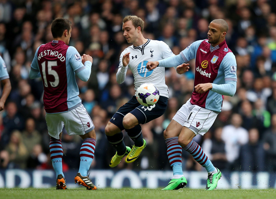 Photo - Tottenham Hotspur's Christian Eriksen, center, battles for the ball with Aston Villa's Jordan Bowery, right, and Ashley Westwood during the English Premier League soccer match at White Hart Lane, London, Sunday May 11, 2014. (AP Photo/PA, John Walton) UNITED KINGDOM OUT  NO SALES  NO ARCHIVE
