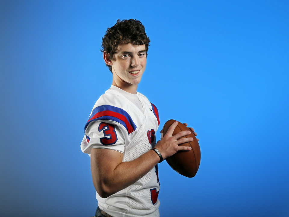 Photo - Will McKinnis, high school football player for Oklahoma Christian School, poses for a photo in the OPUBCO studio in Oklahoma City , Wednesday, Aug. 14, 2013. Photo by Nate Billings, The Oklahoman