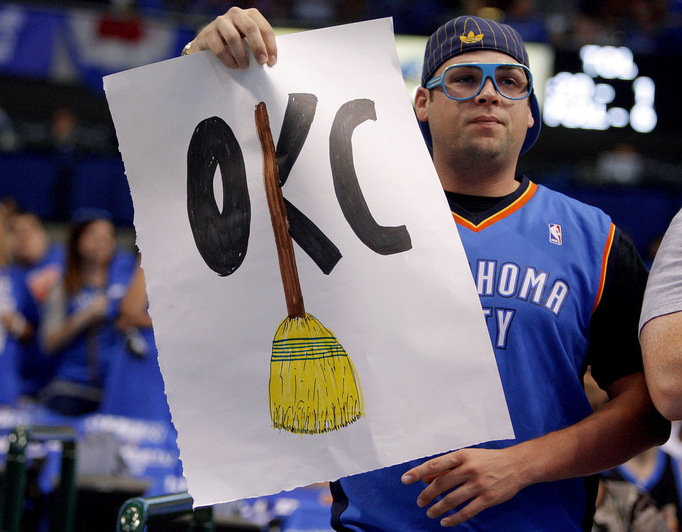 Morgan Honer of Oklahoma City cheers for the Thunder before Game 4 of the first round in the NBA playoffs between the Oklahoma City Thunder and the Dallas Mavericks at American Airlines Center in Dallas, Saturday, May 5, 2012. Photo by Bryan Terry, The Oklahoman
