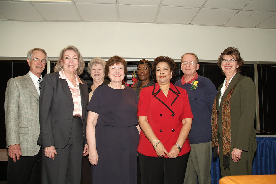 Rose State College President Dr. Terry Britton stands with recent retirees. Pictured left to right are: (front row) Professor, Carole Johnson; Professor, Carol Cies and Teacher Dimple Dillard. Back row are: Dr. Britton; Professor, Letitia Johnson; Teacher, Annete Thorton; Professor, Gary King and Professor, Joan Miranda.<br/><b>Community Photo By:</b> Steve Reeves<br/><b>Submitted By:</b> Donna, Choctaw