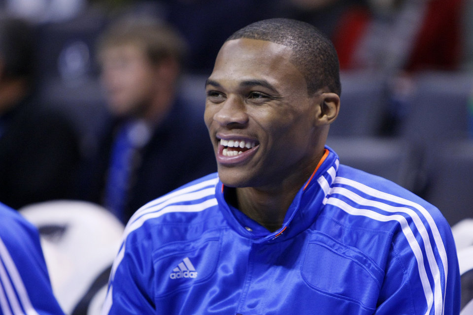 Oklahoma City's Russell Westbrook before the Thunder - Warriors game Sunday, December 5, 2010 at the Oklahoma City Arena. Photo by Hugh Scott, The Oklahoman