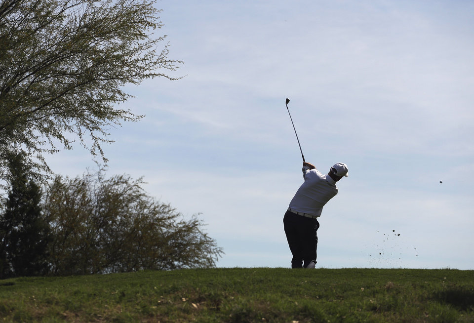 Jim Furyk, of Ponte Vedra Beach, Fla., hits from the seventh tee during the second round of the Texas Open golf tournament, Friday, April 5, 2013, in San Antonio.  (AP Photo/Eric Gay)