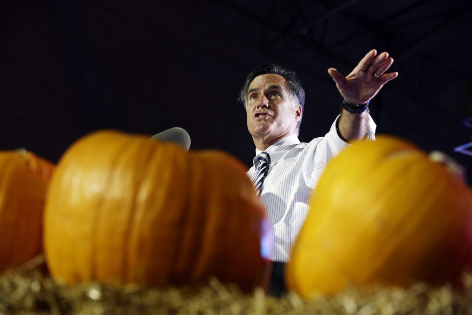 Photo -   Republican presidential candidate and former Massachusetts Gov. Mitt Romney speaks at a campaign event at Metropolitan Park in Jacksonville, Fla., Wednesday, Oct. 31, 2012. (AP Photo/Charles Dharapak)