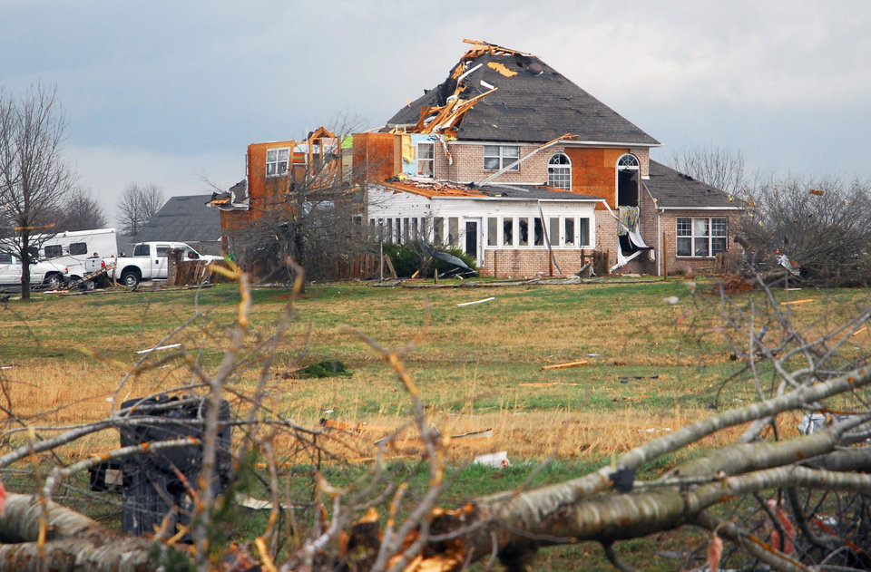 A home in Athens, Ala., was heavily damaged by a strong storm on Friday, March 2, 2012.  A reported tornado destroyed several houses in northern Alabama as storms threatened more twisters across the region Friday(AP Photo/Athens News Courier, Jean Cole)   ORG XMIT: ALATH102