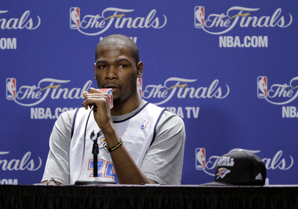 NBA BASKETBALL: Oklahoma City's Kevin Durant answers a question during a press conference for Game 3 of the NBA Finals between the Oklahoma City Thunder and the Miami Heat at American Airlines Arena in Miami, Saturday, June 16, 2012. Photo by Bryan Terry, The Oklahoman