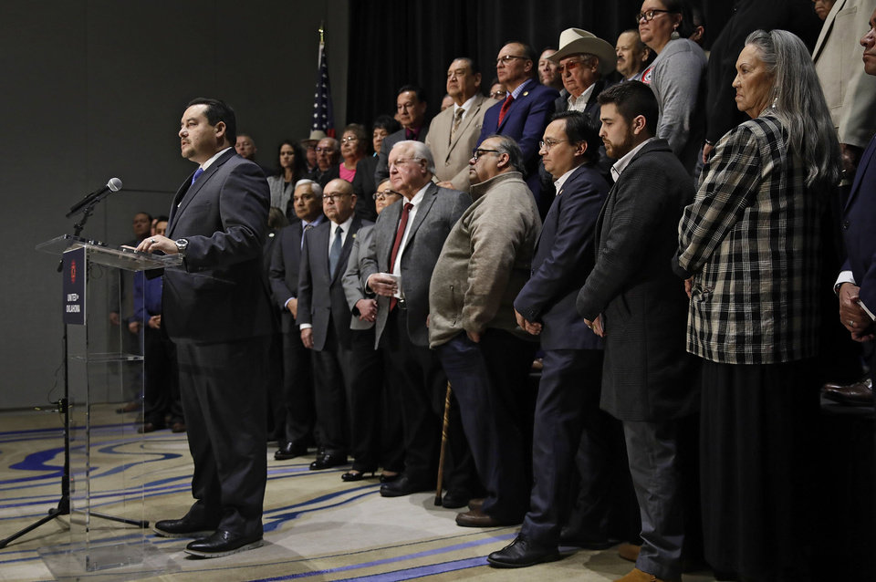 Photo - Matthew Morgan chairman of  the Oklahoma Indian Gaming Assocation speaks during a news conference with tribal leaders from 32 tribes to speak out against Gov. Kevin Stitt's request to extend gaming compact negotiations Thursday, Dec. 19, 2019. MIKE SIMONS/Tulsa World