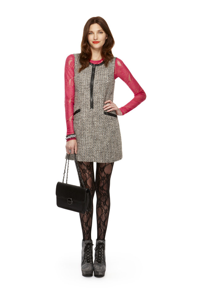 Long-sleeve lace tee in pink, tweed zip-front shift dress, lace tights, classic convertible handbag, all from Kirna Zabete for Target collection. Photo provided. <strong></strong>