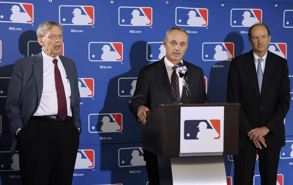Photo - From left, Major League Baseball Commissioner Allan H.