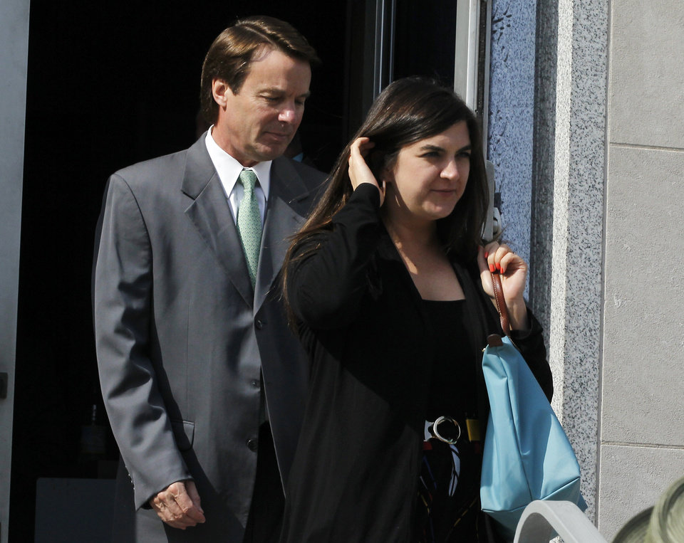 Photo -   Former Sen. John Edwards and his daughter Cate Edwards leave the Federal Courthouse in Greensboro, N.C. Thursday May 3, 2012 after court finished for the day. Edwards is accused of conspiring to secretly obtain more than $900,000 from two wealthy supporters to hide his extramarital affair with Rielle Hunter and her pregnancy from the media. He has pleaded not guilty to six charges related to violations of campaign-finance laws. (AP Photo/The News & Observer, Chuck Liddy) MANDATORY CREDIT