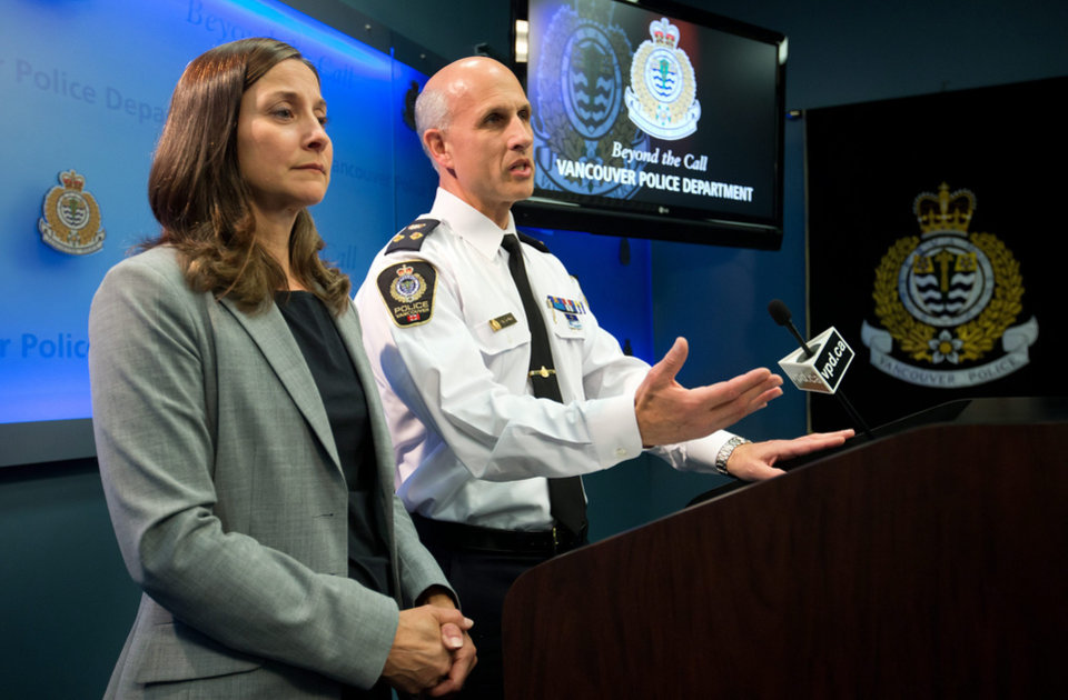 "Vancouver Police Acting Chief Doug LePard, right, and British Columbia Chief Coroner Lisa Lapointe announce the death of Canadian actor Corey Monteith during a news conference in Vancouver, B.C., late Saturday July 13, 2013.  Vancouver police say Canadian born actor Montieth, star of the hit show ""Glee"" has been found dead in city hotel.  (AP Photo/The Canadian Press, Darryl Dyck)"