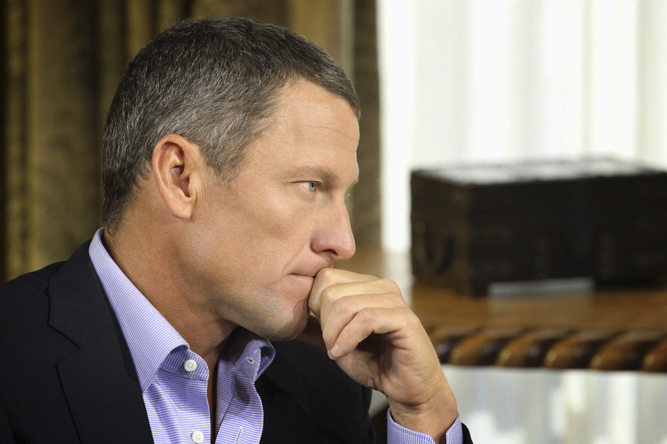 FILE - In this Monday, Jan. 14, 2013, file photo provided by Harpo Studios Inc., Lance Armstrong listens as he is interviewed by talk show host Oprah Winfrey during taping for the show