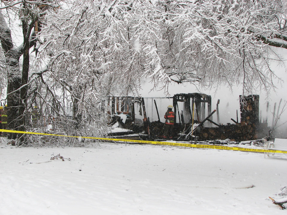 A propane explosion Thursday morning killed a  woman and severely burned a man inside a home northwest of Ada. Photo provided by the Ada fire department