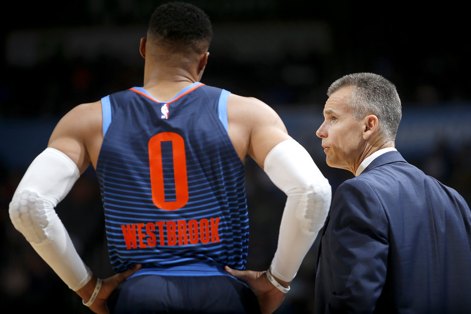 Photo - Oklahoma City coach Billy Donovan talks with Russell Westbrook during an NBA basketball game between the Oklahoma City Thunder and the Sacramento Kings at Chesapeake Energy Arena in Oklahoma City, Sunday, Oct. 21, 2018. Photo by Bryan Terry, The Oklahoman