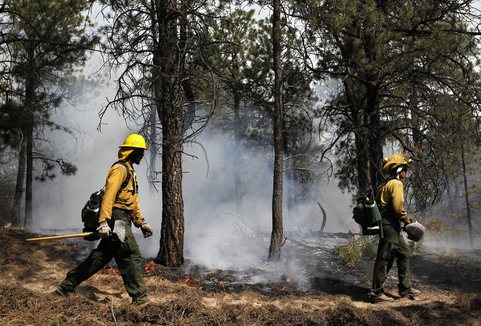 Photo - AmeriCorps volunteer firefighters assigned to the El Paso County Sheriff's Office, Woodland Fire Crew, help contain a spot fire in an evacuated area of forest, ranches and residences, in the Black Forest wildfire area, north of Colorado Springs, Colo., on Thursday, June 13, 2013.  The blaze in the Black Forest area northeast of Colorado Springs is now the most destructive in Colorado history, surpassing last year's Waldo Canyon fire, which burned 347 homes, killed two people and led to $353 million in insurance claims. (AP Photo/Brennan Linsley)