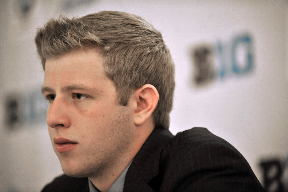 ADDS NAME OF SCHOOL - Indiana quarterback Nate Sudfeld talks to the media during the Big Ten Football Media Day in Chicago, Monday, July 28, 2014. (AP Photo/Paul Beaty)