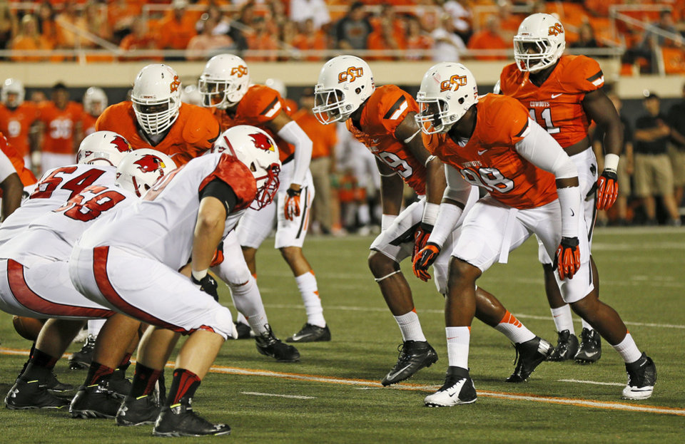 OSU defenders stand on third down during a college football game between the Oklahoma State University Cowboys (OSU) and the Lamar University Cardinals at Boone Pickens Stadium in Stillwater, Okla., Saturday, Sept. 14, 2013. Photo by Nate Billings, The Oklahoman