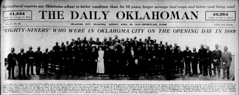 The Daily Oklahoman reported on the 89ers reunion just a few days before the Century Chest was buried in 1913. <strong></strong>