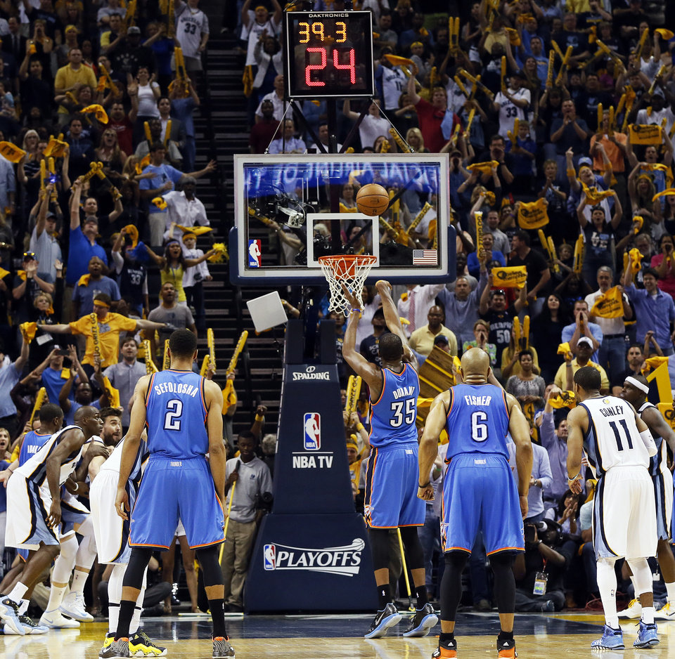 Oklahoma City's Kevin Durant (35) shoots a free throw with 39.3 seconds left in Game 3 in the second round of the NBA basketball playoffs between the Oklahoma City Thunder and Memphis Grizzles at the FedExForum in Memphis, Tenn.,  Saturday, May 11, 2013. Memphis won, 87-81. Photo by Nate Billings, The Oklahoman