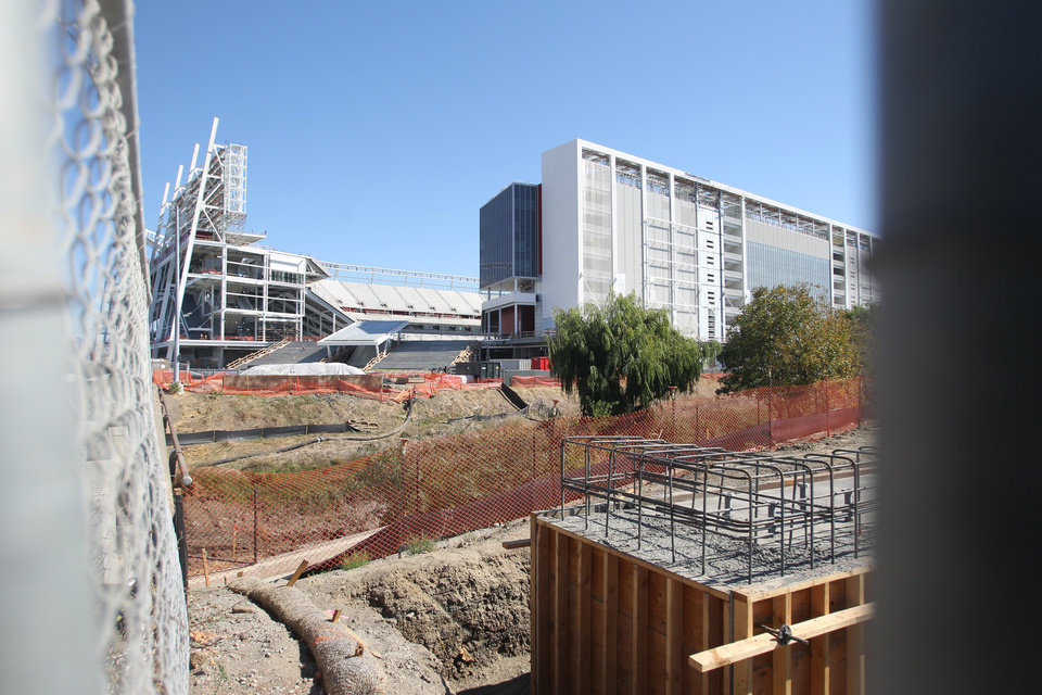 Photo - The Forty-Niners' new stadium project is seen MOnday Oct. 14, 2013, in Santa Clara, Calif.  A a second was killed in less than four months on Monday. (AP Photo/Mathew Sumner)