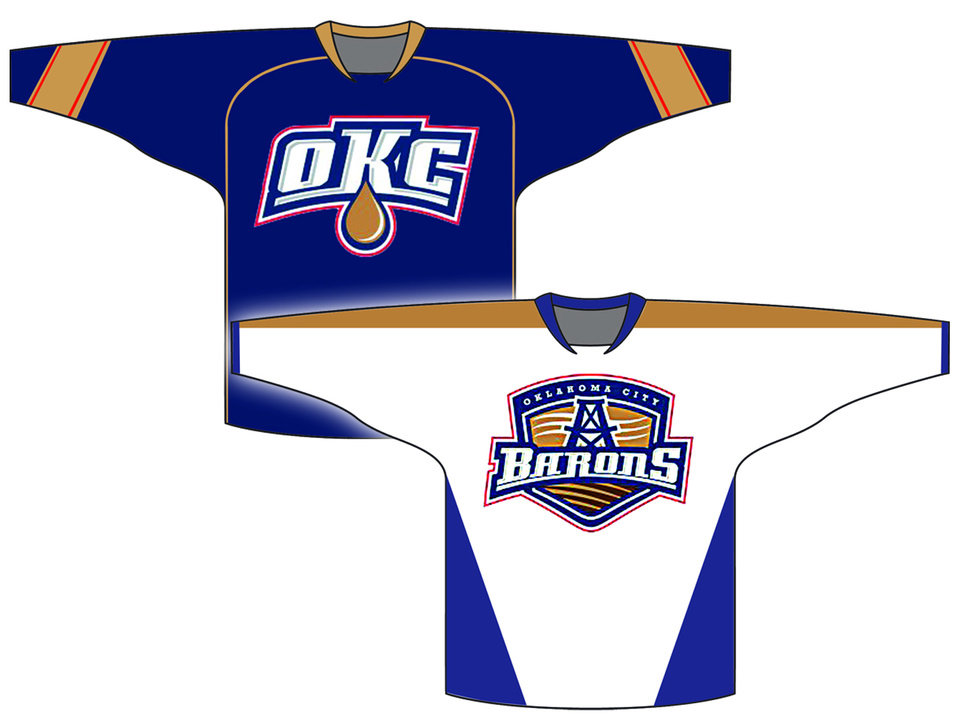 Photo - Using the Edmonton Oilers' color scheme, we mocked up a home and away sweater for the AHL team with the Barons logo found registered at the U.S. Patent and Trademark Office. Of course, this is just a guess. The Prodigy Hockey group has been tight-lipped about the name of the team.  Illustration by Phillip Baeza, the Oklahoman