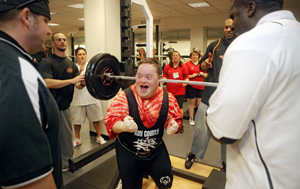 Ben Grubb reacts after completing his squat lift during the powerlifting competition for the Special Olympics at Oklahoma State University (OSU) on Wednesday, May 13, 2009, in Stillwater, Okla. Photo by Chris Landsberger, The Oklahoman