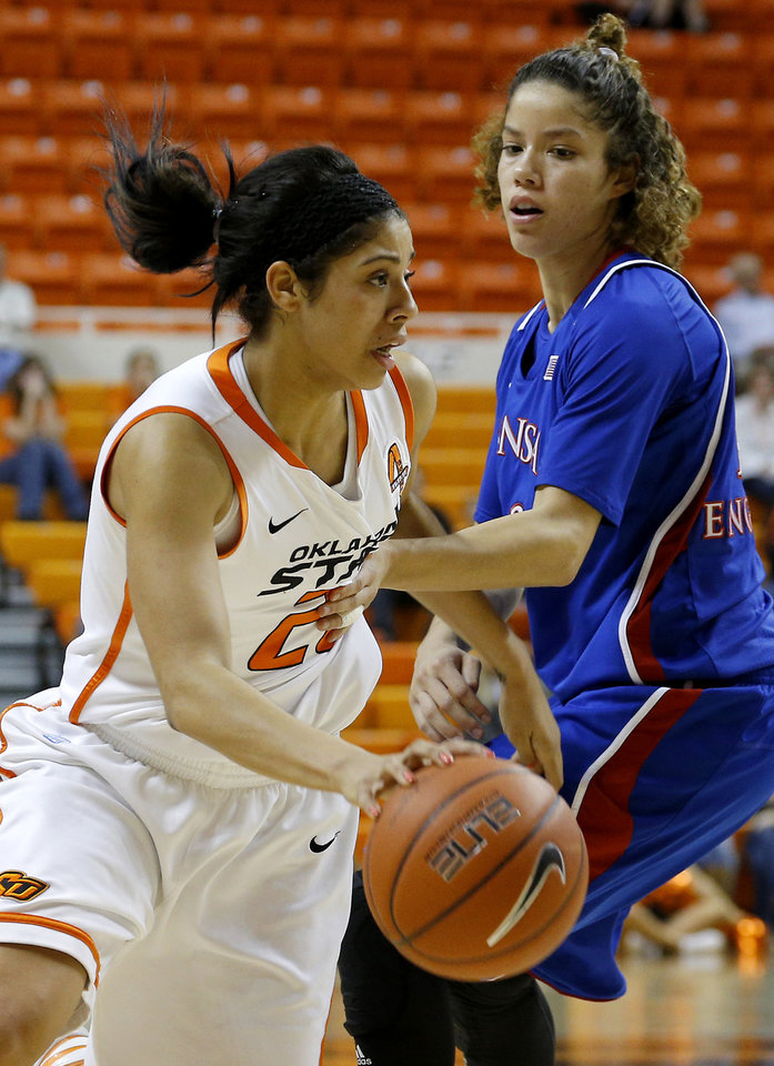 Photo - Oklahoma State's Brittney Martin (22) drives past Kansas' Monica Engelman (13) during a women's college basketball game between Oklahoma State University (OSU) and Kansas at Gallagher-Iba Arena in Stillwater, Okla., Tuesday, Jan. 8, 2013. Oklahoma State won 76-59. Photo by Bryan Terry, The Oklahoman