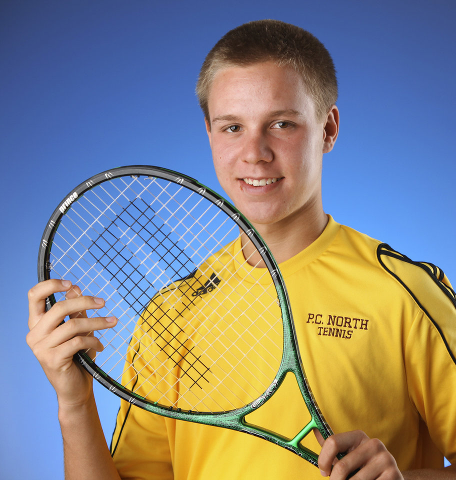 Photo - Putnam City North junior Chris Haworth is The Oklahoman's boys All-City Tennis Player of the Year. PHOTO BY JIM BECKEL, THE OKLAHOMAN