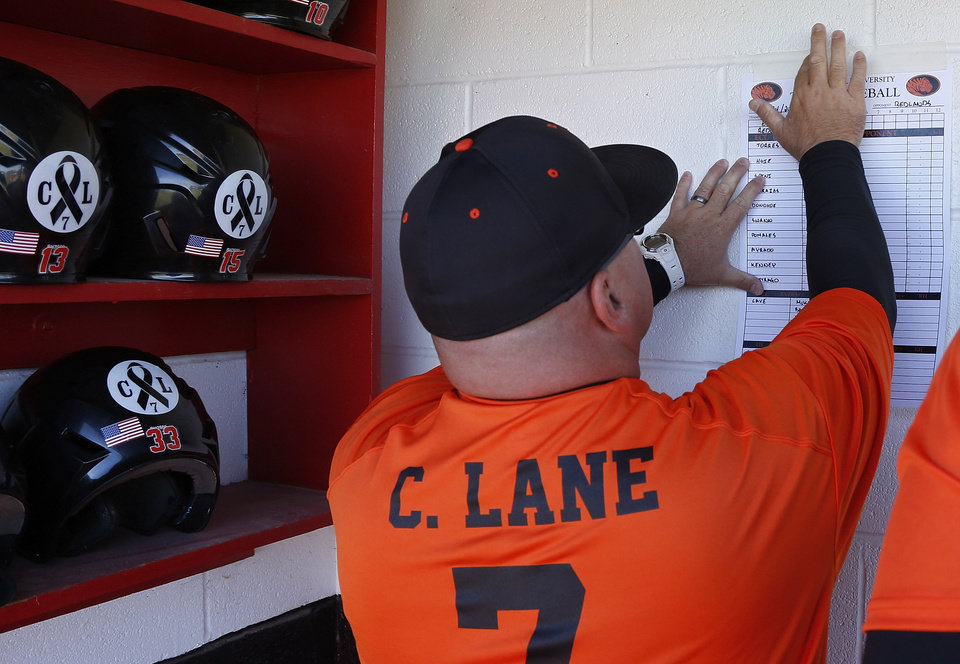 East Central University head coach Dino Rosato hangs up the lineup in the dugout before a memorial game for slain Australian baseball player Chris Lane against Redlands Community College in Duncan, Okla, Thursday, Oct. 24, 2013. All of the players and coaches on both teams wore jersey's with Lane's name and number. (AP Photo/Sue Ogrocki)