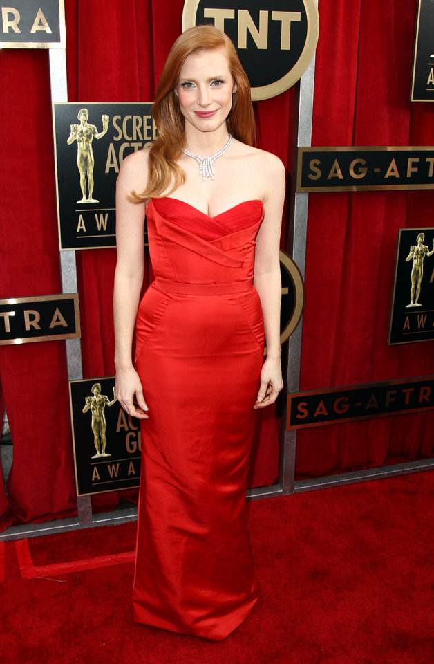 Photo - Actress Jessica Chastain arrives at the 19th Annual Screen Actors Guild Awards at the Shrine Auditorium in Los Angeles on Sunday, Jan. 27, 2013. (Photo by Matt Sayles/Invision/AP)