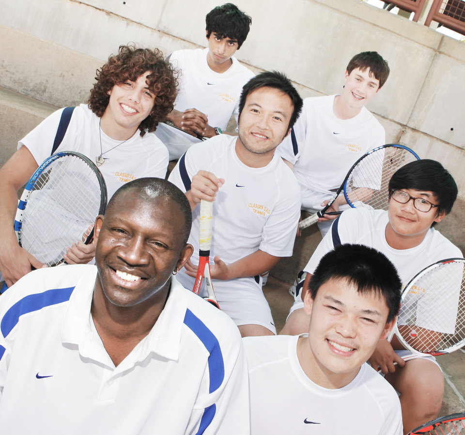 Front row from left, Classen tennis coach Ron Mims, Chris Chan; second row, Arturo Dargence, Hai Nguyen, Danny Vo; third row, Neil Pruthi and David Sergent. Photo by Nate Billings, The Oklahoman