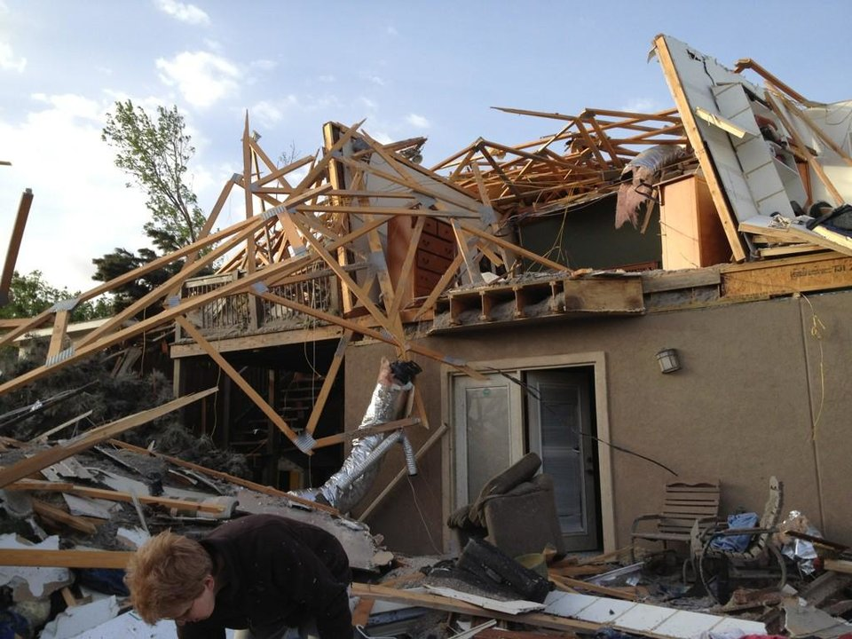The Woodward, Okla. home of Carole Beckett, 70, and husband Gordon, 76. They couldn\'t make it to their shelter, but survived. Photo by Michael Kimball, The Oklahoman, April 15, 2012.