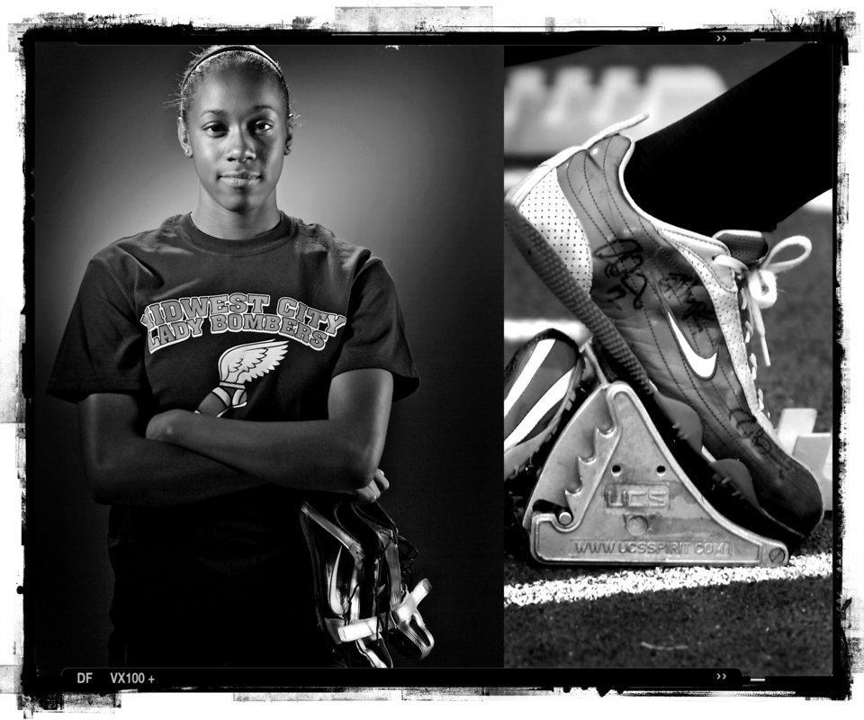 Photo - SECOND PLACE, PHOTO PACKAGE:  Midwest City High School's Carissa Levingston track player of the year Spring sports honor roll shot in the OPUBCO studio on Thursday, May 22, 2008, in Oklahoma City, Okla.  staff photo ILLUSTRATION by CHRIS LANDSBERGER