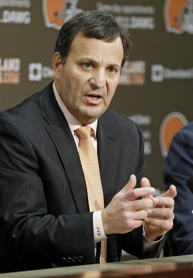 Mike Lombardi, the Cleveland Browns vice president of player personnel, answers questions during his introductory news conference at the NFL football team\'s practice facility in Berea, Ohio, Friday, Jan. 18, 2013. (AP Photo/Mark Duncan)
