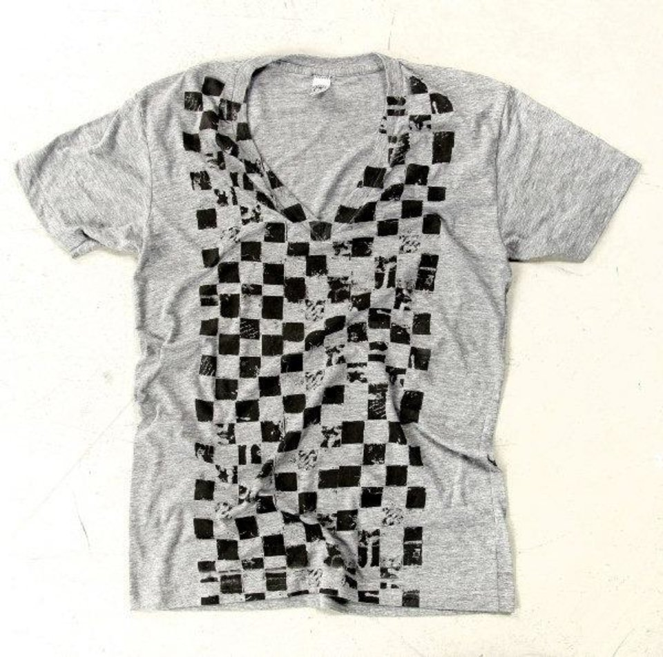 Checker Paper is from the Bombs Away line of T-shirts by artist and designer Dustin Oswald. Photo by Chris Landsberger, The Oklahoman. <strong>CHRIS LANDSBERGER</strong>