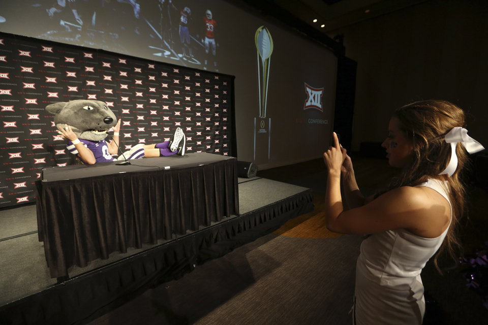 Photo - The Kansas State mascot poses for a photo on the main stage during the NCAA college Big 12 Conference Football Media Days in Dallas, Monday, July 21, 2014. (AP Photo/LM Otero)