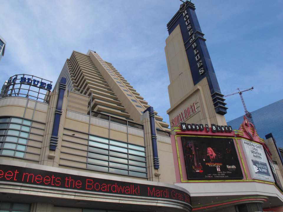 Photo - This Oct. 26, 2011 photo shows the Showboat Casino Hotel and its House of Blues nightclub in Atlantic City, N.J. A union official said on June 26, 2014 that a top executive of Showboat's parent company, Caesars Entertainment, revealed plans to issue notices to the casinos employees the next day warning that the Showboat could be shut down in 60 days. (AP Photo/Wayne Parry)