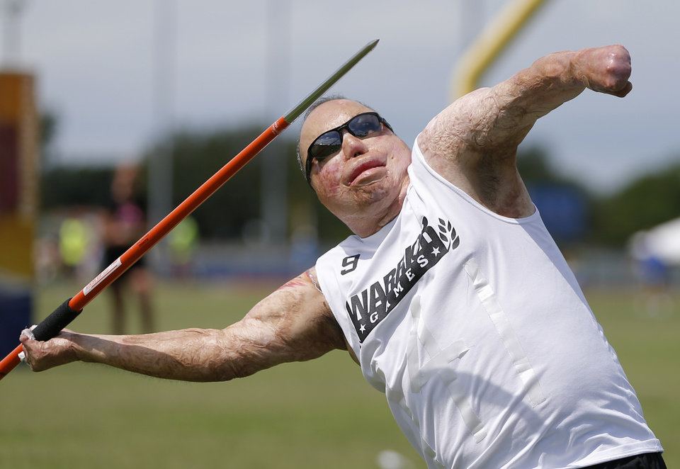 Israel Deltoro throws a javelin during the UCO Endeavor Games at the Edmond North High School School track, Saturday, June 7, 2014. Photo by Bryan Terry, The Oklahoman