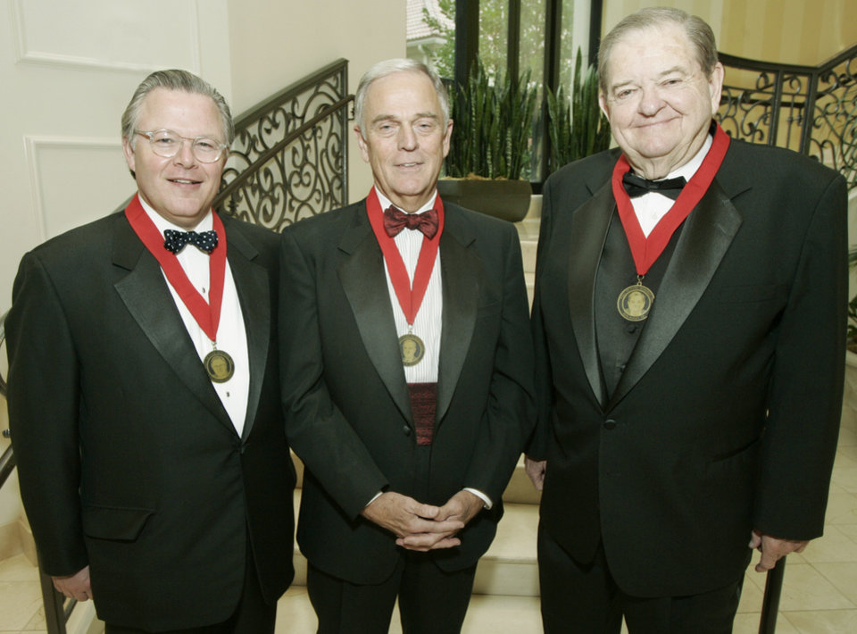 JAMES DANIEL / INDUCT / INDUCTED / INDUCTION: Inductees into the Oklahoma City Public Schools Wall of Fame from left to right, Cliff Hudson, James R. Daniel and Bob Barry Sr. in Oklahoma City, Oklahoma October 22, 2009. Photo by Steve Gooch, The Oklahoman